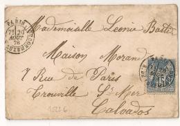PARIS R. DU LUXEMBOURG Sur Enveloppe Au Type SAGE Pour TROUVILLE SUR MER Calvados. - Marcofilie (Brieven)