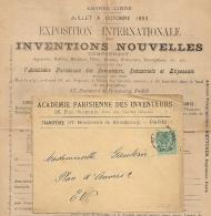 ACADEMIE PARISIENNE DES INVENTEURS PARIS PL De La BOURSE. TARIF IMPRIMES. Période SAGE. 1893. - Marcofilie (Brieven)