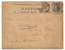 PARIS 60 R. EUGENE SUE Pour WINCHERINGEN Allemagne. CORDONNERIE GAUTERIE. - Marcofilie (Brieven)