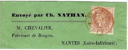 1874- Bande Complète De Journal Affr. 2 C N° 51 Oblit. Cad Rouge  De Paris - Marcofilie (Brieven)