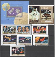X1238 MANAMA SPACE APOLLO 14 16 FIRST MAN ON THE MOON 1SET+2BL MNH - Andere