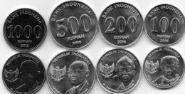 Indonesia - 100 200 500 1000 Rupiah 2016 UNC Set 4 Coins Ukr-OP - Indonesië