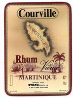 Etiquette  RHUM Vieux Courville  - MARTINIQUE - 43° 70cl - Imprimeur Ruel - - Rhum
