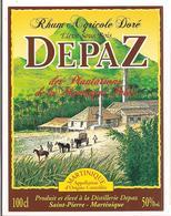 Etiquette  RHUM Agricole Doré , élevé Sous Bois - Distillerie Depaz  - MARTINIQUE -50% 100cl - - Rhum