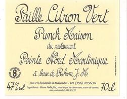Etiquette Punch Citron Vert - Restaurant Pointe Nord Au RHUM Paille J.M. à Macouba - MARTINIQUE - - Rhum