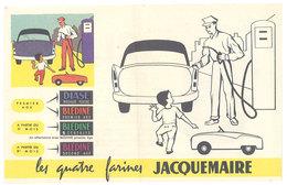 Publicité Papier Les Quatre Farines Jacquemaire ( Automobile, Voiture à Pédale, Pompe à Essence, Enfant ) - Publicités