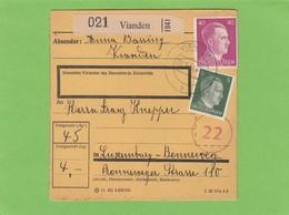 PAKETKARTE VON VIANDEN NACH LUXEMBURG-BONNEWEG MIT DER 22 FÜR MOSELLAND(PÄCKCHENLEITGEBIETE). - 1940-1944 Deutsche Besatzung