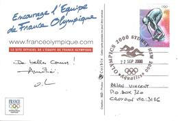 """2000 Jeux Olympiques De Sydney:cachet """"Natation"""",carte Officielle équipe De France - Sommer 2000: Sydney - Paralympics"""