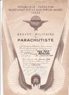 Brevet Militaire De Parachutiste Forces Armées Terre Republique Francaise Troupes Aeroportées - Documents