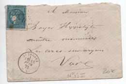 1871 - ENVELOPPE De SAINT TROPEZ (VAR) Avec GC 3876 Sur BORDEAUX N° 45 III - 1849-1876: Classic Period