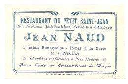 Carte Commerciale Pub, Avec Photo Femme - Restaurant Petit Saint-Jean, Jean Naud, Arles Sur Rhône - Publicités