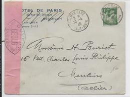 AVRIL 1940 - ENVELOPPE FM De COLMAR (HAUT-RHIN) Avec CENSURE => MOULINS - Guerre De 1939-45
