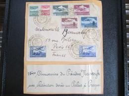 Lettre 86 Ieme Anniversaire Du President Massaryk . Obliteration Doree Au Palais A Prague . 8 Timbres Avions Rare - Tchéquie