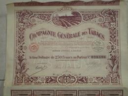 Obligation Action Titre Emprunt De 250 Francs Au Porteur Compagnie Générale Des Tabacs 1927 - Shareholdings