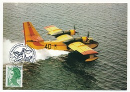 """Cachet """"XXV° Anniversaire Bombardiers D'eau - Marignane - 1986"""" Sur CP - Marcophilie (Lettres)"""