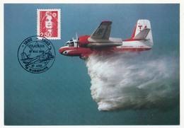 """Cachet """"1982/1992 TRACKER 10 Ans - Marignane - 1992"""" Sur CP XXV° Anniversaire Sécurité Civile - Marcophilie (Lettres)"""