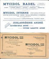 Buvards Anciens Et Bloc  PRODUITS PHARMACEUTIQUES : LABORATOIRES BADEL - VALENCE -MYCIDOL BADEL -JUGLANREGINE ANDRE - Chemist's