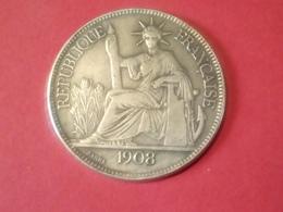 FAUSSE MONNAIE PIÈCE DE PIASTRE DE COMMERCE INDOCHINE FRANCAISE 1908 PAS ARGENT Non Nettoyé - France