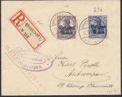 Guerre 14-18 - Lettre De Guerre En Recommandé De Brasschaert Vers Antwerpen + Censure Militaire - [OC1/25] Gen.reg.