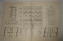 Plan  D'une Maison De Rapport, Rue Saint Denis à Colombes. Seine. M.M. Leseine Frères, Architectes. 1912 - Public Works