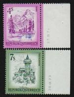 Österreich 1973 Michel 1259 ** + 1432 ** ANK 1589 ** + 1594 ** Jeweils Mit Druckdatum, Rechter Rand, Almsee, Falkenstein - 1945-.... 2. Republik