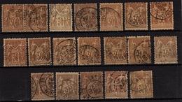 FR-CL86 - FRANCE Lot De 19 Types Sages Obl. N° 80 Avec Variétés De Teintes Et D'oblitérations - 1876-1898 Sage (Type II)