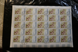Laos  C35 Plain Of Stones Xieng Khouang Cancelled Full Sheet Of 25 NOT Folded 1960 A04s - Dominica (1978-...)