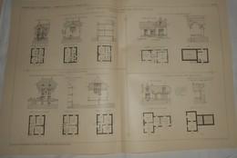 Plans  De Petites Maisons D'habitation Familiale En Divers Lieux. M. Bourniquel, Architecte. 1912 - Public Works