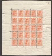 Charlotte De Face 20 Cent. Feuillet 5 X5   Prifix 125a * - 1921-27 Charlotte Front Side