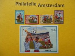 Uganda 1989, WORLD CUP ITALY 90 / FOOTBALL SOCCER VOETBAL FUSSBALL FUTBOL CALCIO: Mi 643-46, + Bl. 90, ** - Wereldkampioenschap