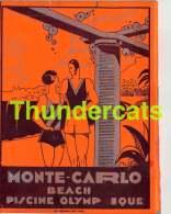 PROGRAMME PETIT LIVRE MONTE CARLO SAISON 1935 1936 BEACH PISCINE OLYMPIQUE MONACO - Programs