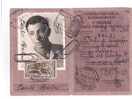 TESSERA UNIONE POSTALE UNIVERSALE 1953 CON MARCA ANEI  LIRE 20 - Europe