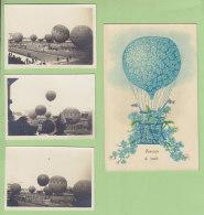 Ballon : 3 Photos + 1 CP. Lâcher De Ballons Années 30 . 2 Scans. - Montgolfières