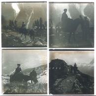 Chamonix Vers 1920 * Ascension Brévent à Dos De Mulet Depuis Bel Achat * 4 Plaques Verre Stereo - Voir Scans - Glass Slides