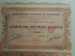 Ancienne Action 500F - MANUFACTURE LYONNAISE DE BONNETERIE - 1927 - 04888 - Actions & Titres