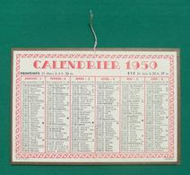 Calendrier Cartonné Petit Format - Année 1950 - Calendars