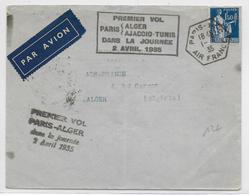1935 - ENVELOPPE Par AVION 1° VOL PARIS à ALGER Dans La JOURNEE - Poste Aérienne