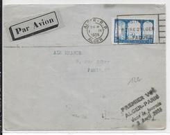 1935 - ENVELOPPE Par AVION 1° VOL ALGER à PARIS Dans La JOURNEE - Poste Aérienne