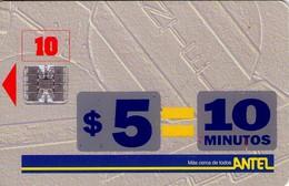 TARJETA TELEFONICA DE URUGUAY. 1a (ANTEL $5 = 10 MINUTOS) (285) - Uruguay