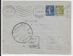 1935 - ENVELOPPE Par AVION De AJACCIO (CORSE) => PARIS - 1° VOL DANS LA JOURNEE - Air Post