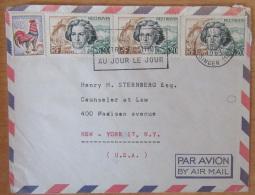 """Enveloppe Vers USA Par Avion Avec Timbre YT N°1331 (non-oblitéré) Et YT N°1382 """"Beethoven"""" X 3 - Cachet 1963 - Marcophilie (Lettres)"""