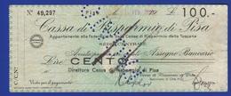 RSI Assegno Pisa Cassa Risparmio Emesso A PISA Nel Febbraio 1944 Banche Chèque Bank Check - Assegni & Assegni Di Viaggio