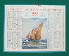 Calendrier Cartonné Grand Format - Année 1938 - Illustration Chalutier Vendéen - Calendars