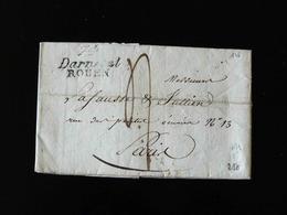 LETTRE DE DARNETAL  ROUEN   POUR PARIS   -  1828  - - Marcophilie (Lettres)