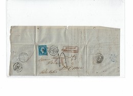 LCA4 -  NAPOLEON III 20c ND T I SUR FACTURE BAVAY/ST OMER 3/7/1860 TAXEE POUR AFFR.T INSUFFISANT - 1853-1860 Napoleon III