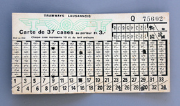 Carte Abonnement Tramways De Lausanne Coll Schnabel - Abonnements Hebdomadaires & Mensuels