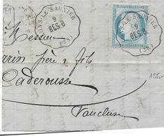 LONS LE SAUNIER Doubs Convoyeur Statio Sur 25c Cérès Ligne 72 BOURG En BRESSE à BESANCON 1876  Fragment   ....G - Railway Post