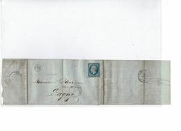 "LCA4 -  NAPOLEON III 20c ND T I BLEU SUR LILAS CACHET ""OR"" CHATEAU THIERRY / LAGNY 31/1/1860 - 1853-1860 Napoléon III."