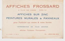 PUBLICITE Grande Carte De Visite Commerciale AFFICHES FROSSARD Place Des Vosges Paris - Cartes De Visite