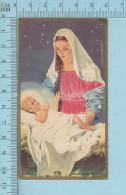 RR 2830, Gold Print - Noel,  Jesus Les Bras Ouvert Dans La Crèche Regardant Marie-  Image Pieuse, Holy Card, Santiti - Images Religieuses